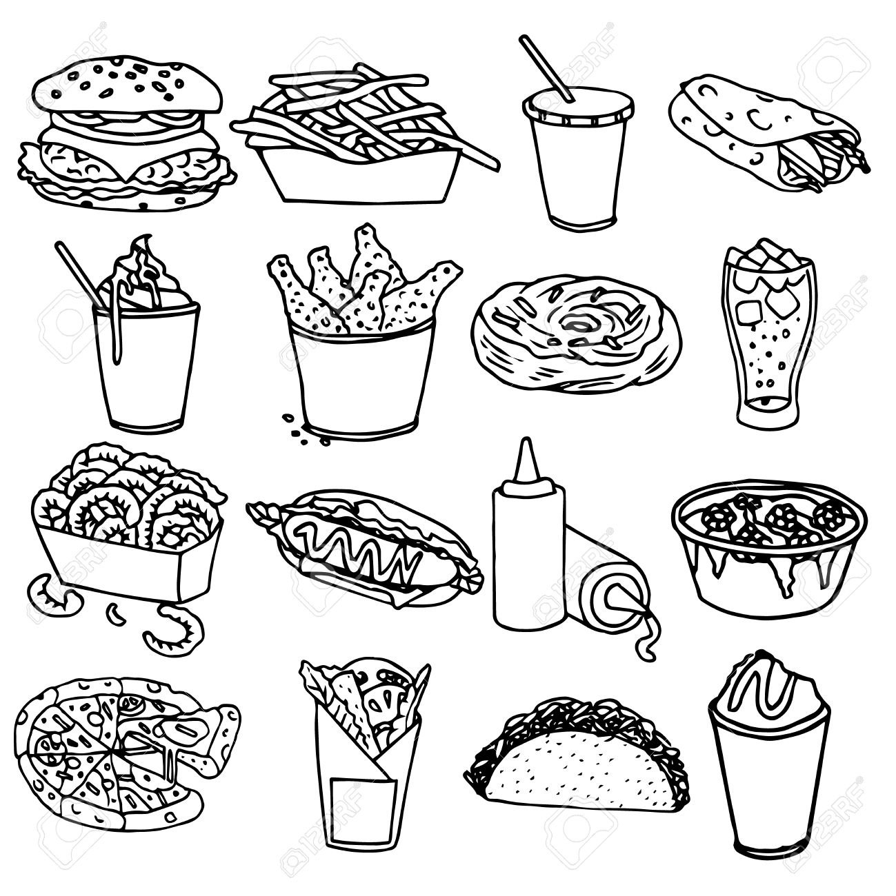 1299x1300 Fast Food Menu Icons Set With Hamburger Chips Hotdog Black Outline