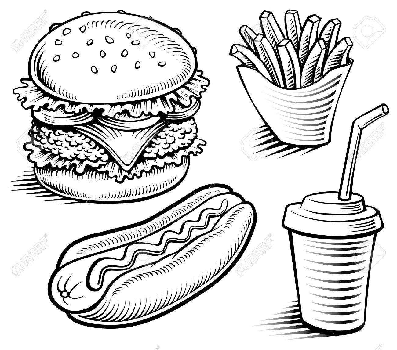 1300x1147 Fast Food Hamburger, Fries, Hotdog, Drink Hand Drawing Royalty