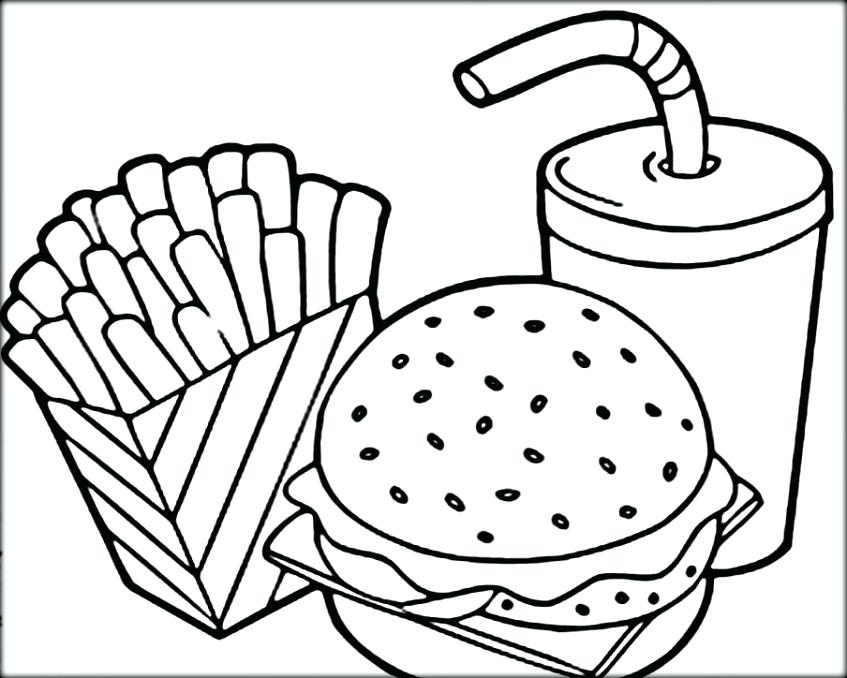 847x678 French Coloring Food Coloring Pages Hamburger And French Fries