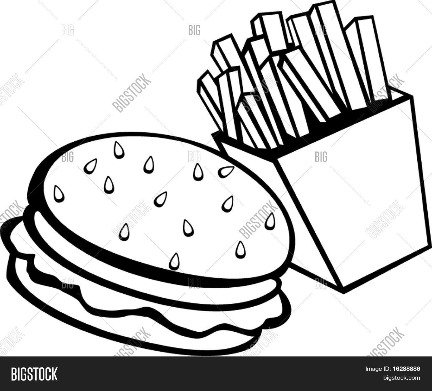1500x1358 Hamburger And Fries Drawing Burger And Fries Drawing
