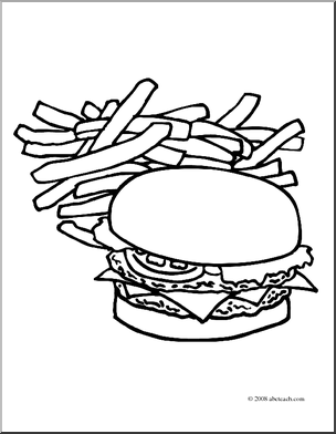 304x392 Hamburger Fries Coloring Plain Page Mcdonalds Clipart