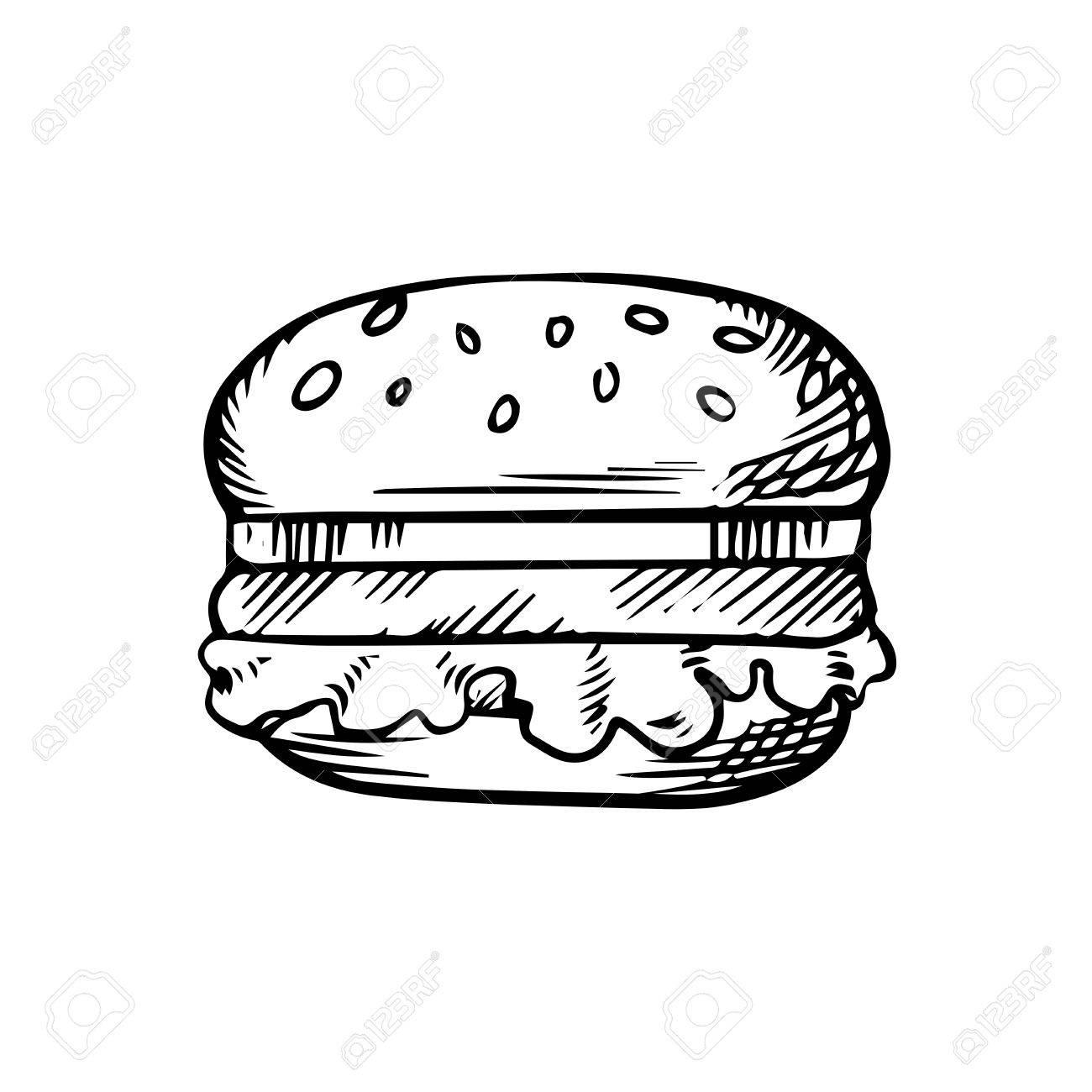 1300x1300 Blacknd White Sketch Of Hamburger With Beef Patty On