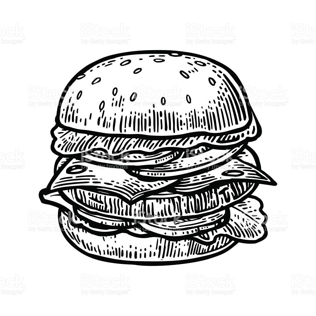 1024x1024 Hamburguesa Incluyen Chuleta, Tomate Y Pepino Y Ensalada Aislado