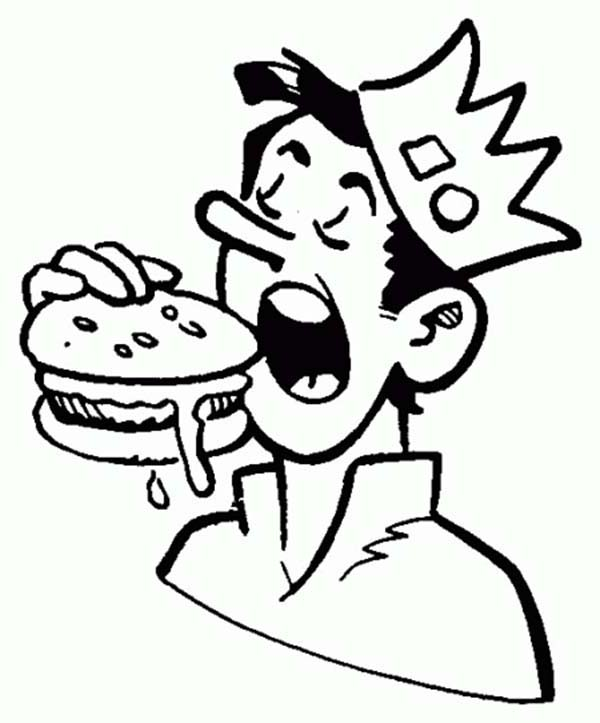 600x723 Jughead Eating Hamburger In Archie Comics Coloring Page Color Luna