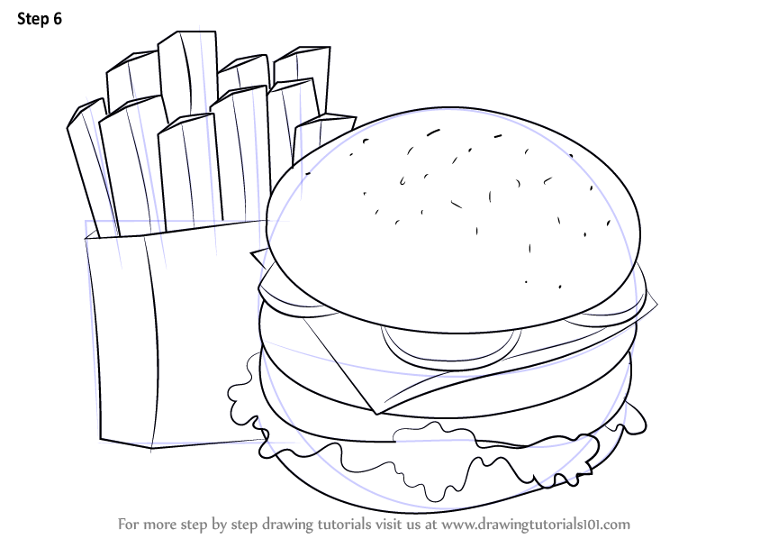 844x598 Learn How To Draw Hamburger And Fries (Snacks) Step By Step