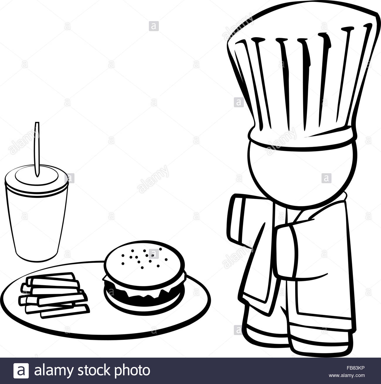 1300x1310 Line Drawing Of Chef With Hamburgernd Friesnd What Could Be
