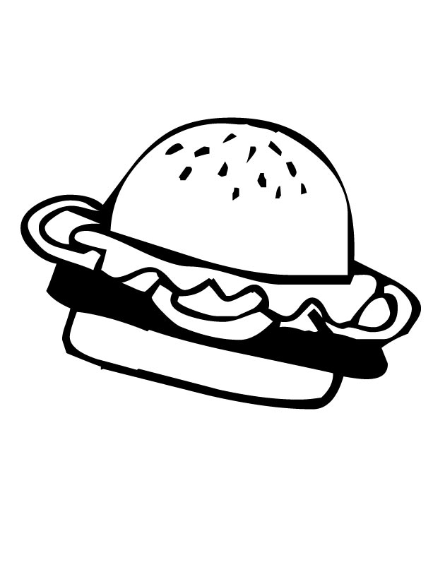 630x810 Printable Hamburger Coloring Page