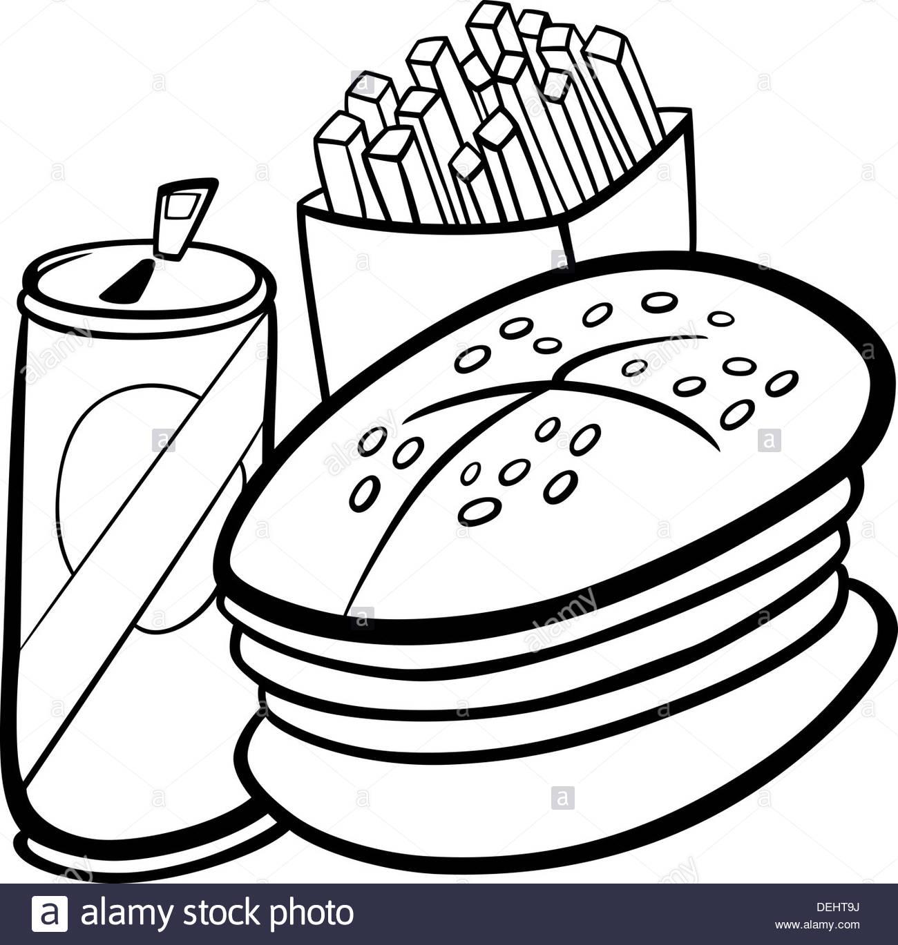 1300x1369 Black And White Cartoon Illustration Of Fast Food Set
