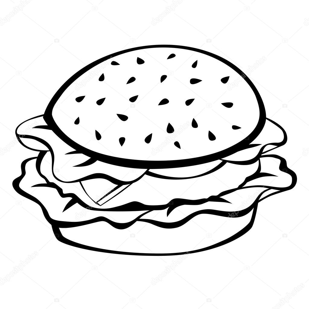 1024x1024 Black White Hamburger Food Isolated Illustration Vector Stock