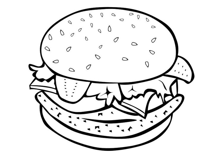 750x531 Coloring Page Hamburger
