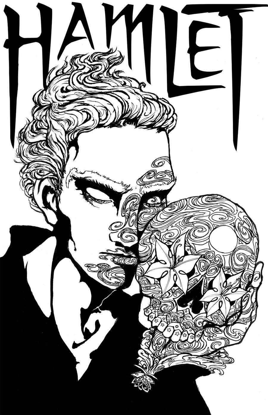 900x1392 Sugar Skull Hamlet Lineart By