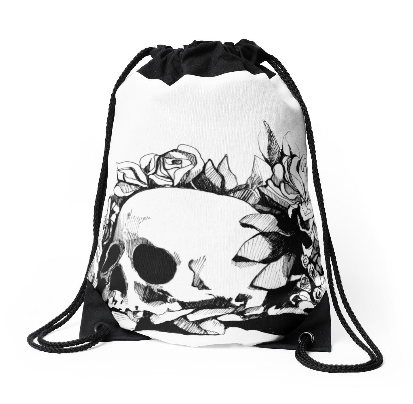 1435x1404 Hamlet Skull Drawstring Bags By Alexluna Redbubble