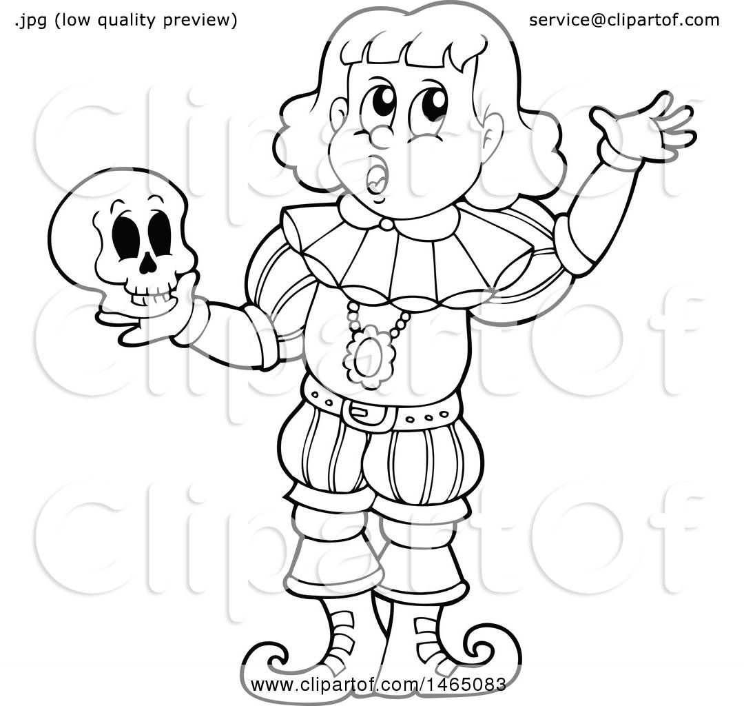 1080x1024 Clipart Of A Black And White Male Actor Playing Hamlet And Holding
