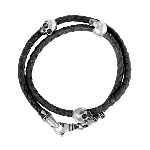 510x510 Double Wrap Black Leather Bracelet With Three Hamlet Skulls