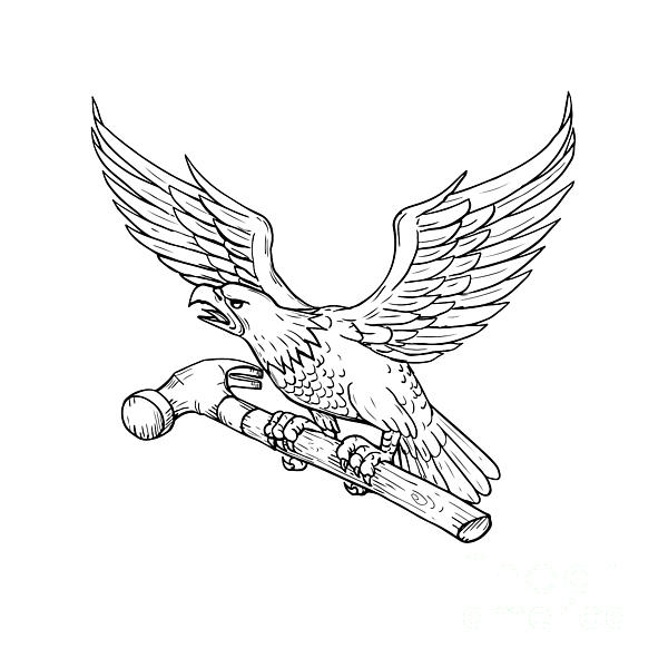600x600 Eagle Clutching Hammer Drawing Digital Art By Aloysius Patrimonio