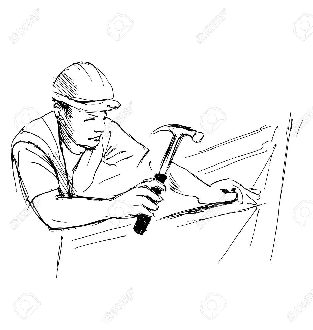 1235x1300 Hand Sketch Worker With Hammer. Vector Illustration Royalty Free