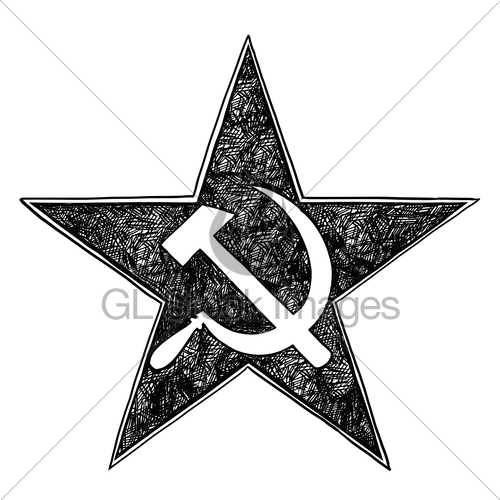 500x500 Communist Star Symbol With Hammer And Sickle Vector Drawing Gl