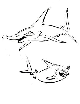 309x400 Sharky Malarkey Hammerhead Shark! (Day 1 Of The Shark Week Sketch