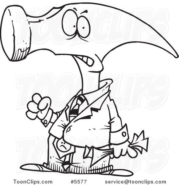 581x600 Cartoon Black And White Line Drawing Of A Hammerhead Business Man