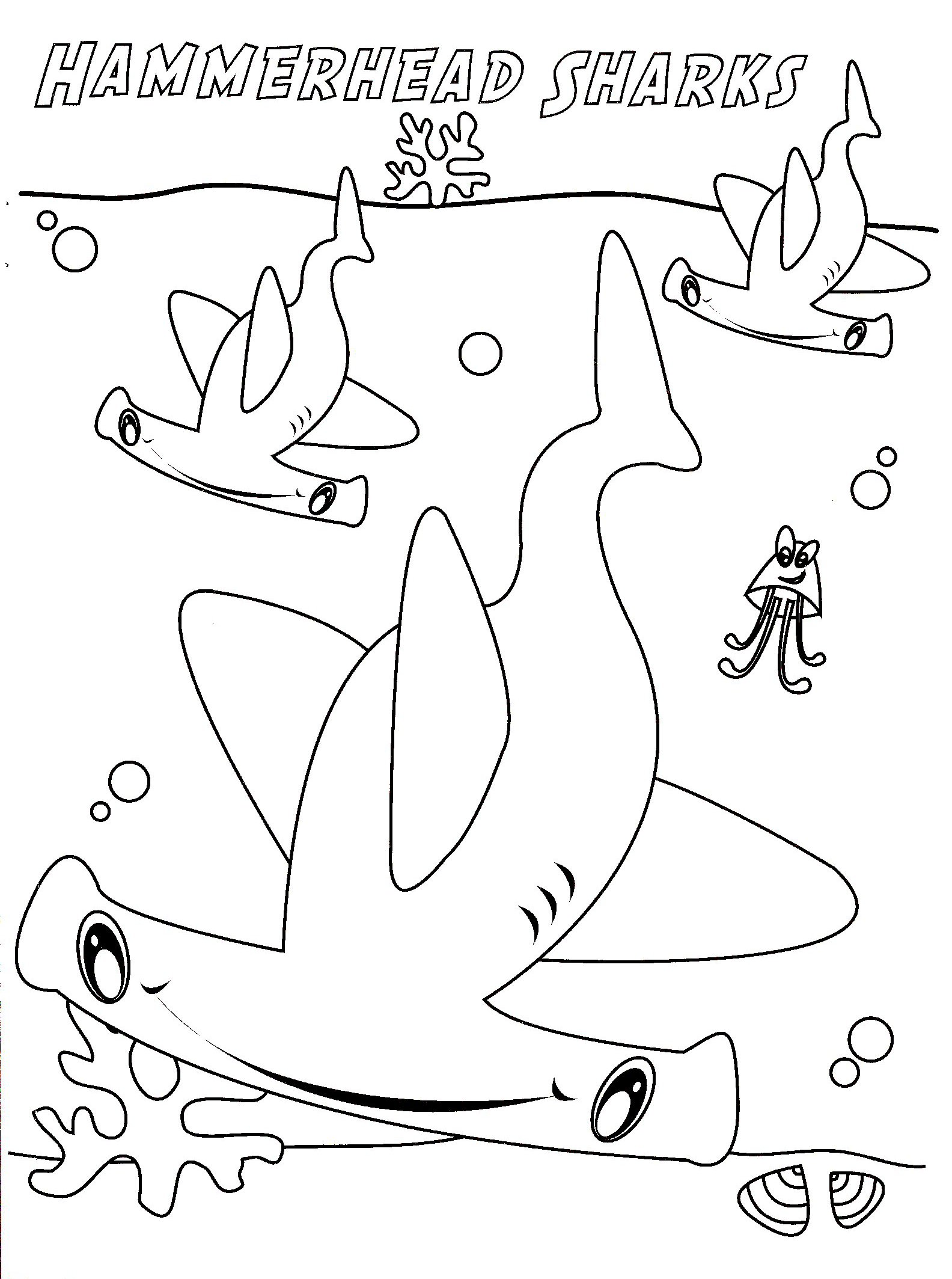 1584x2127 hammerhead shark coloring pages