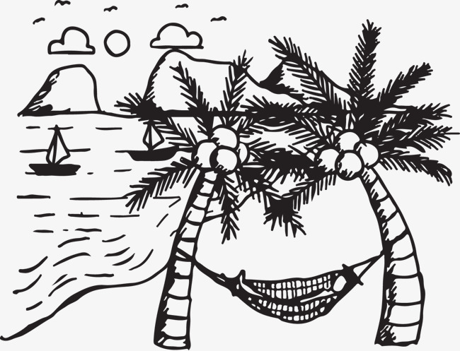 650x497 Coconut Tree Hammock, Black, Sketch, Inked Png Image For Free Download