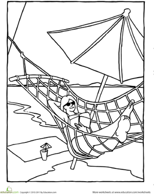 301x380 Color The Hammock On The Beach Worksheet