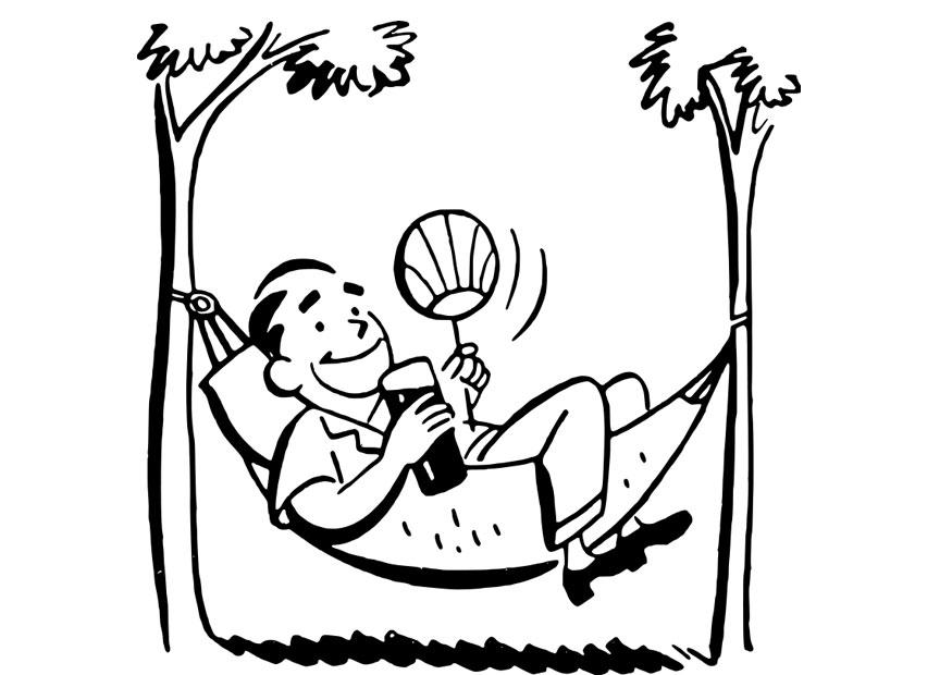 875x620 Coloring Page Man In Hammock