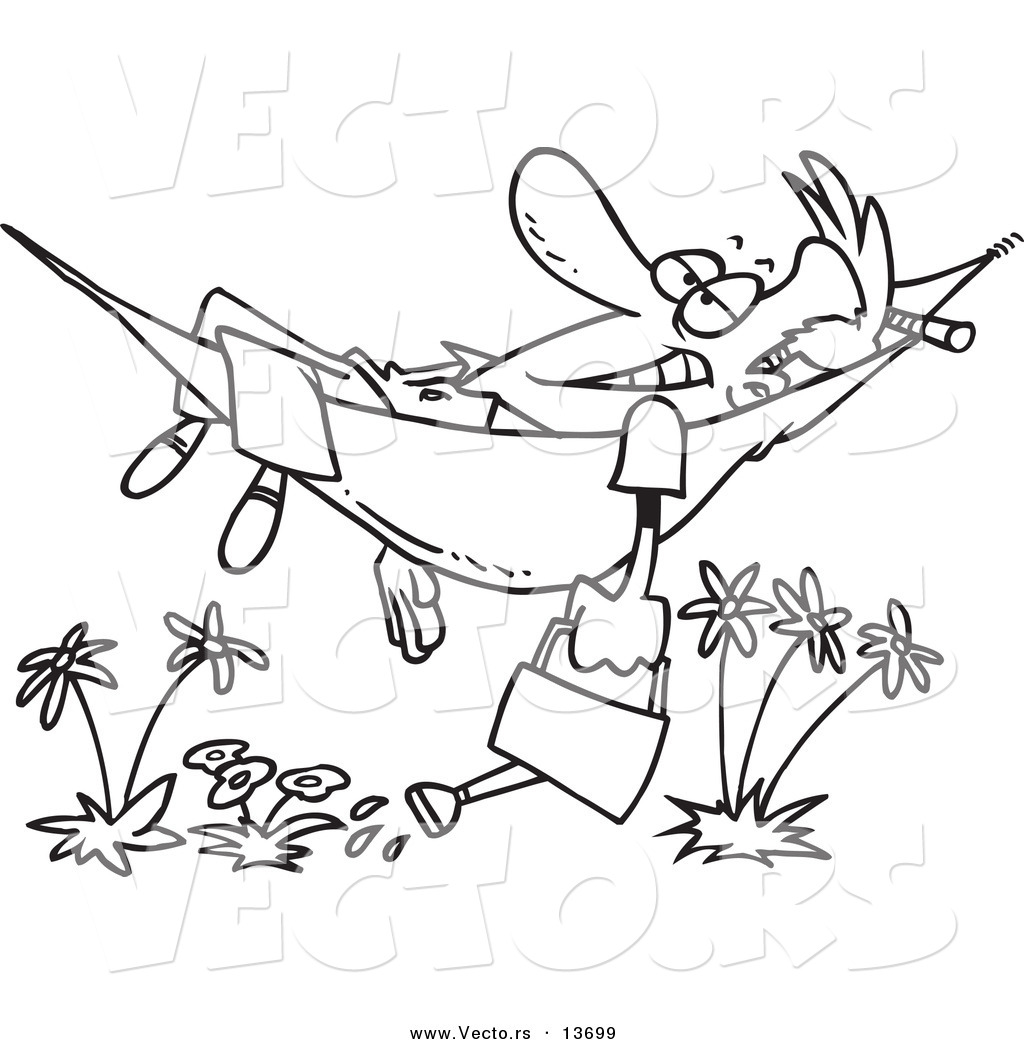 1024x1044 Vector Of A Cartoon Happy Man Relaxing In A Hammock And Watering
