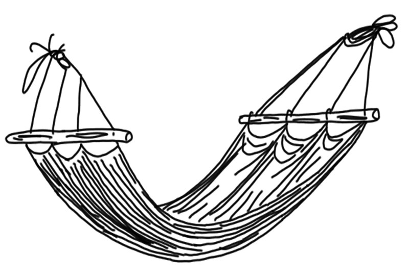 800x545 Comfy Hammock Line Drawing Greeting Cards By Andilynnf Redbubble