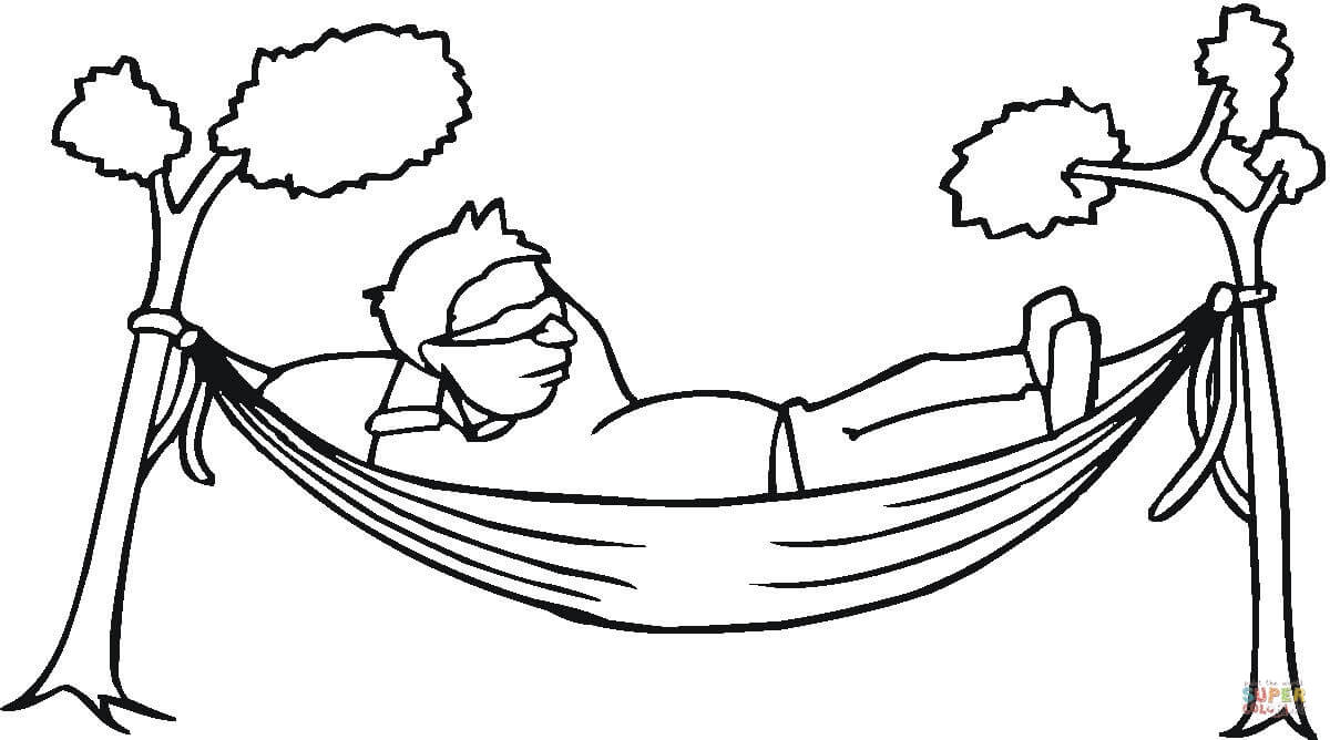 1200x668 A Man Is Resting In A Hammock Coloring Page Free Printable