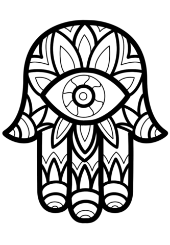 333x480 Hamsa (Hand Of Fatima) Coloring Page Free Printable Coloring Pages