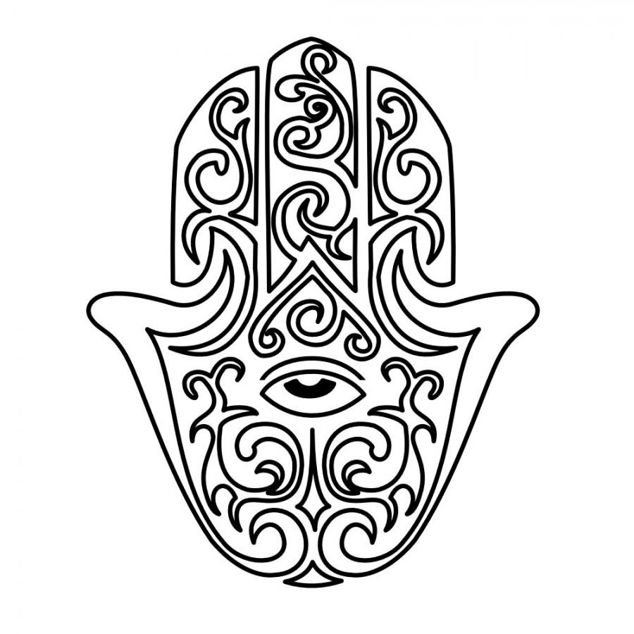 900x900 Hamsa Hand Outline Sketch Design