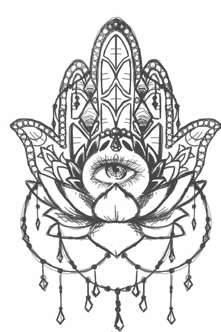 730x1095 Hamsa Lotus Sketch By Sailorinky On Illustration