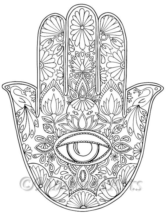 564x730 Hand Drawn Adult Coloring Page Print