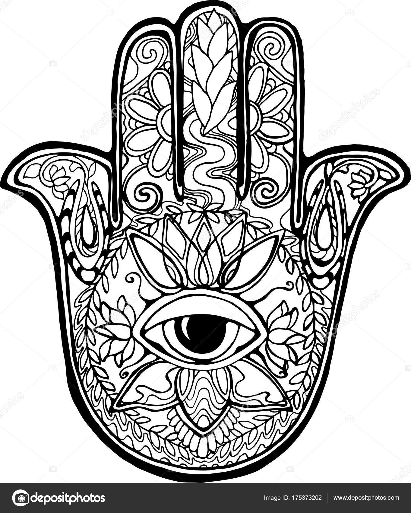 1363x1700 Illustration Of An Ancient Symbol Of Hamsa. Black And White Hand