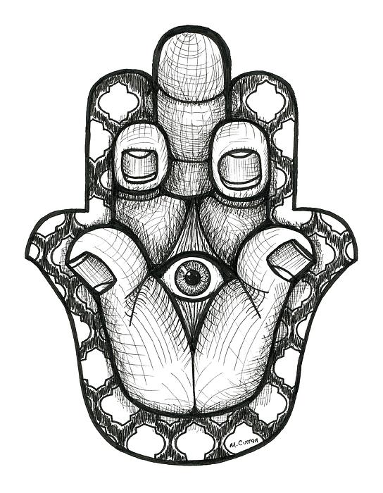544x700 Stink Eye Hamsa Drawing By Mindy Curran