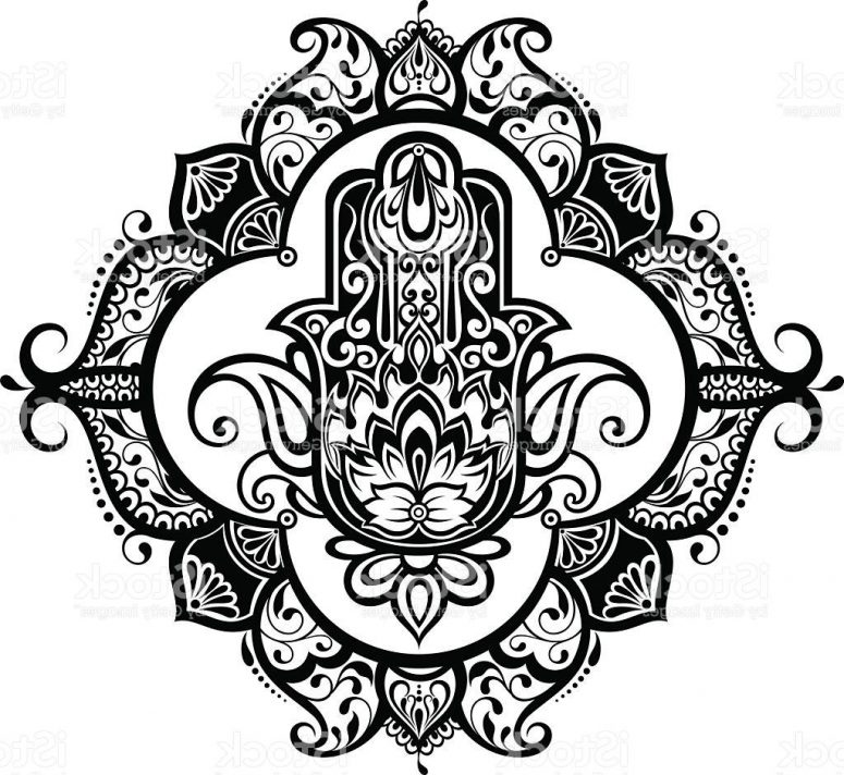 775x712 Hd Vector Indian Hand Drawn Hamsa With Ethnic Ornaments Images