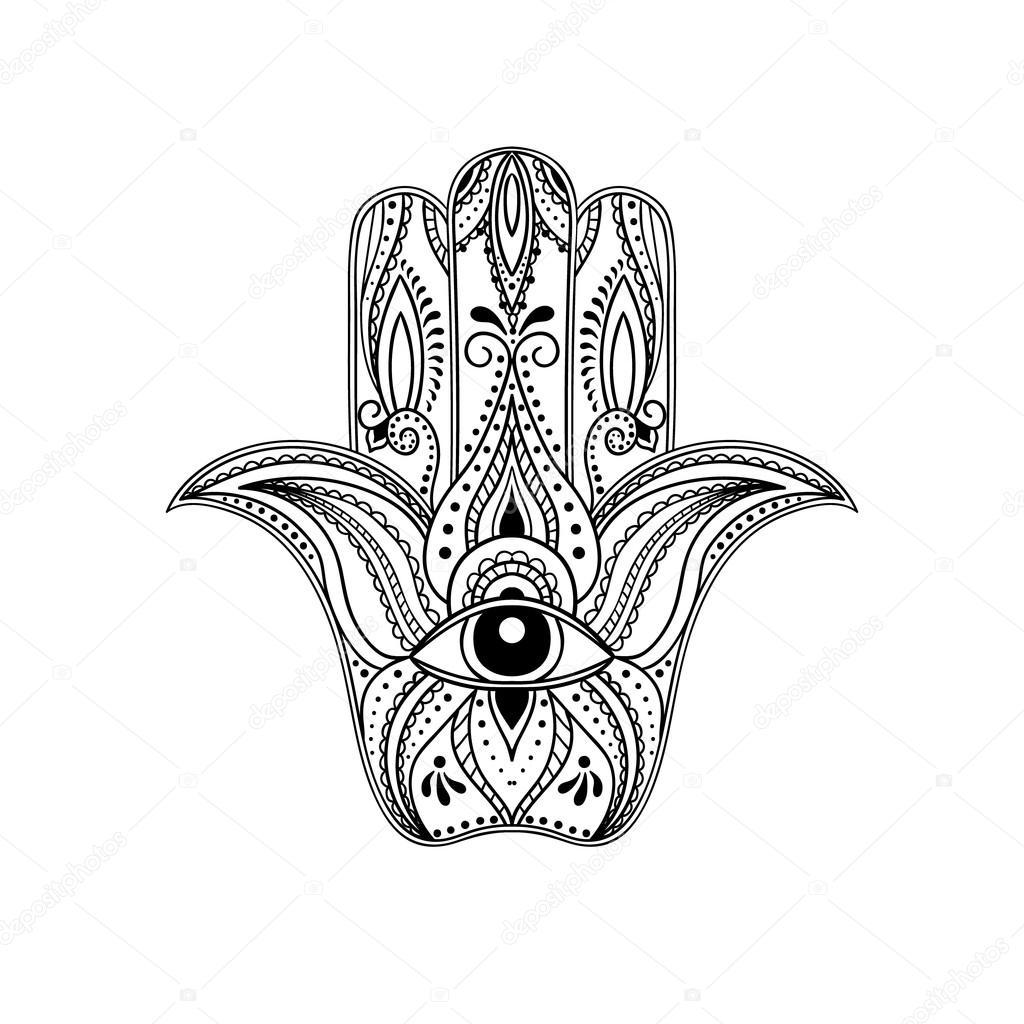 1024x1024 Indian Hand Drawn Hamsa Stock Vector Fafarumba
