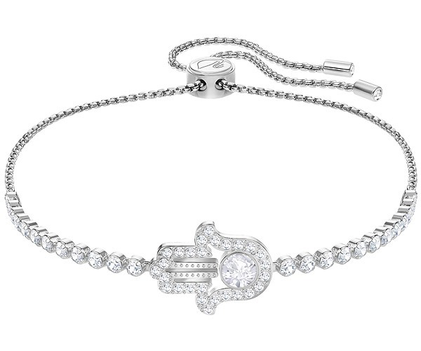 600x500 Subtle Hamsa Hand Bracelet, White, Rhodium Plating