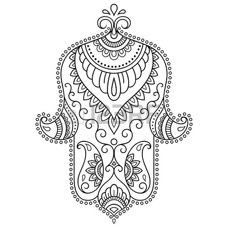 450x450 Vector Hamsa Hand Drawn Symbol. Decorative Pattern In Oriental
