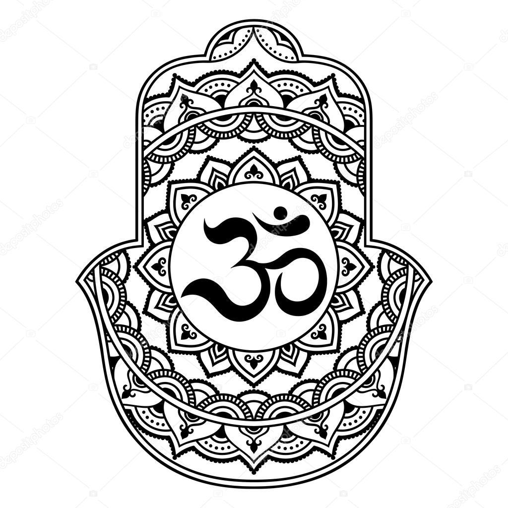 1024x1024 Vector Hamsa Hand Drawn Symbol. Om Decorative Symbol. Stock