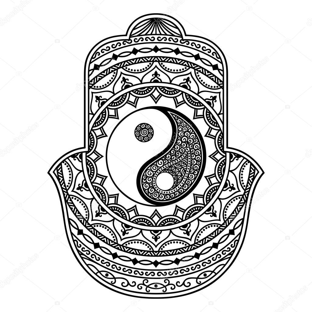 1024x1024 Vector Hamsa Hand Drawn Symbol. Yin Yang Decorative Symbol Stock