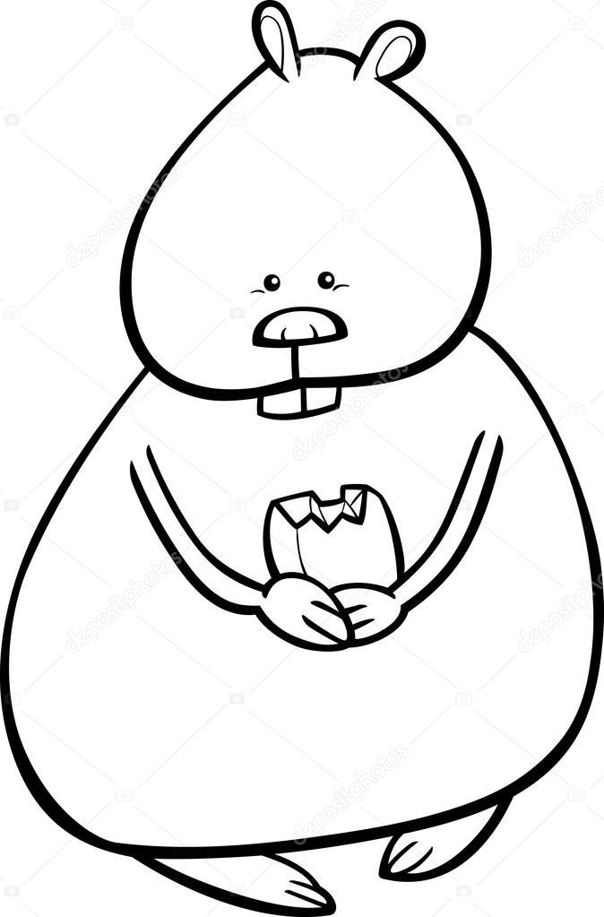 674x1023 Hamster Cartoon Coloring Page Stock Vector Izakowski
