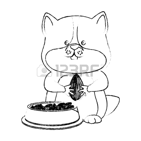 450x450 Plump Cute Guinea Pig, Black And White Drawing. Royalty Free