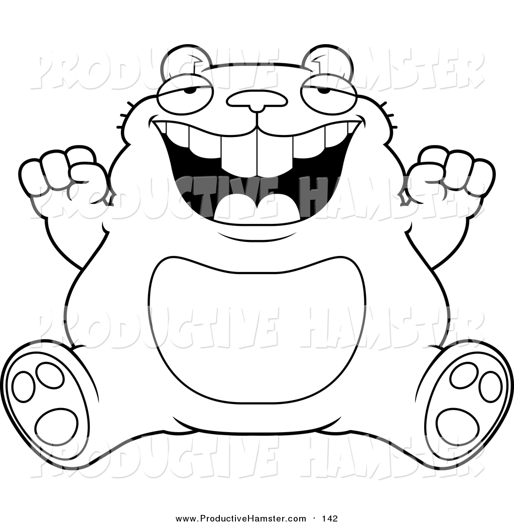 1024x1044 Clip Art Of A Lineart Fat Hamster Sitting And Cheering By Cory