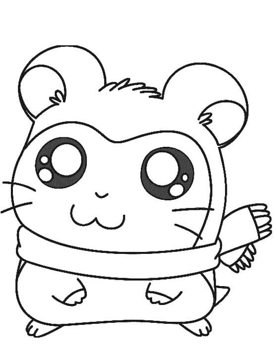 561x726 drawn hamster colouring page