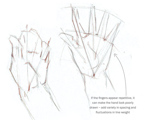 500x415 How To Sketch And Draw Hands