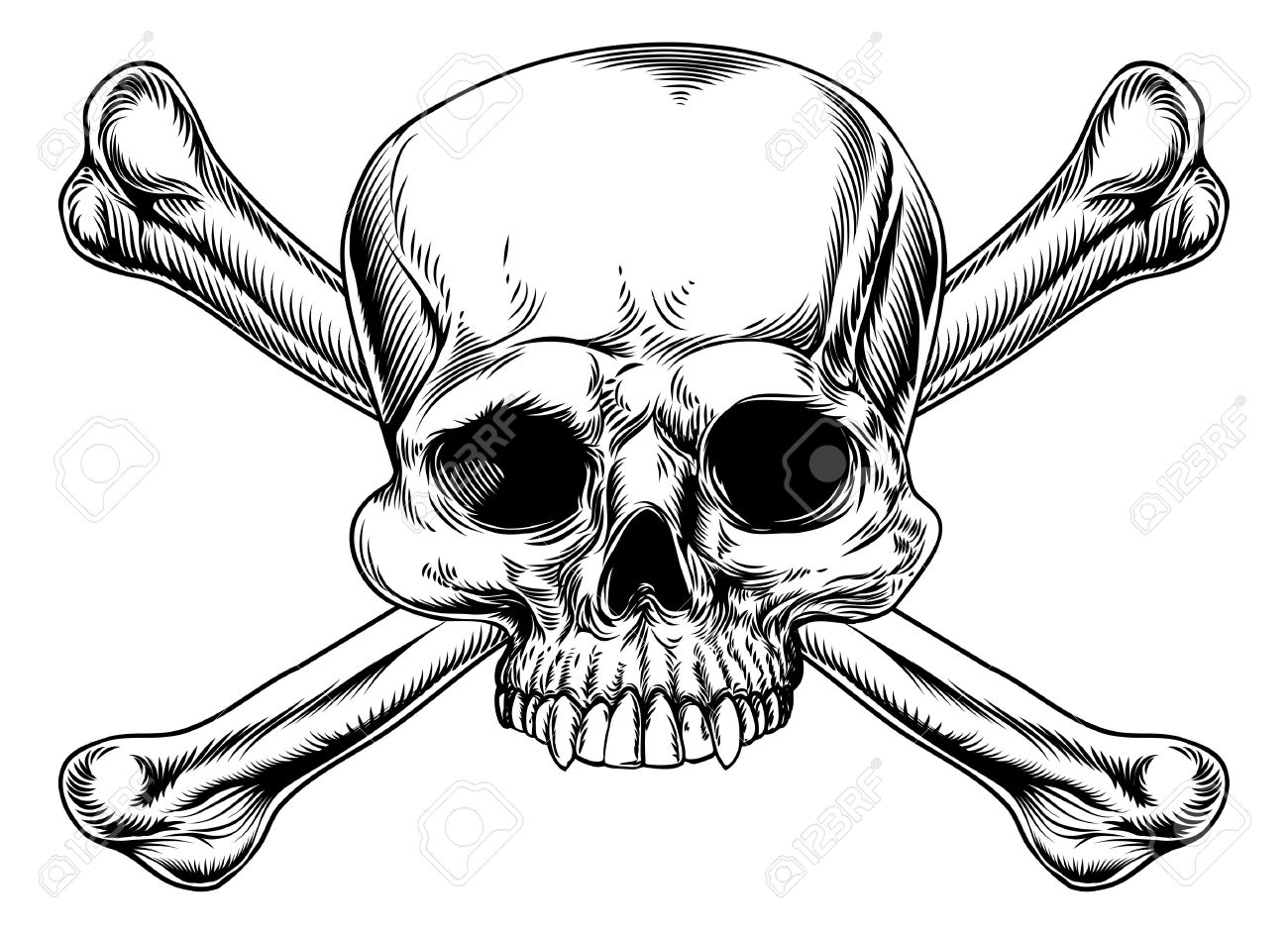 1300x943 Skull And Crossed Bones Drawing In A Vintage Woodcut Style Royalty