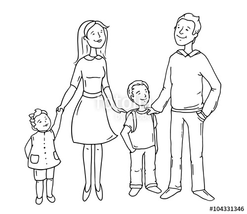 500x434 Sketch Cartoon Happy Family Standing Together. Cute Doodle