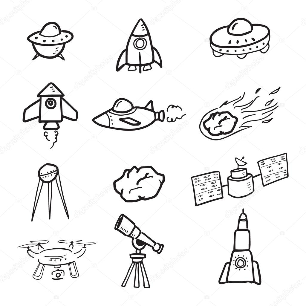 1024x1024 Spaceship And Cosmos Cartoon Drawing Icons Stock Vector